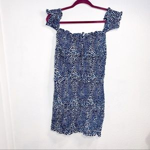 Free People smocked fitted off shoulder mini dress
